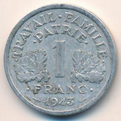 1 франк 1943 год. Франция