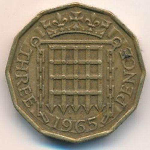 3 пенса 1965 год. Великобритания. Елизавета II