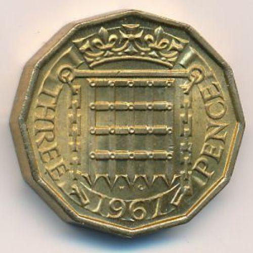 3 пенса 1967 год. Великобритания. Елизавета II