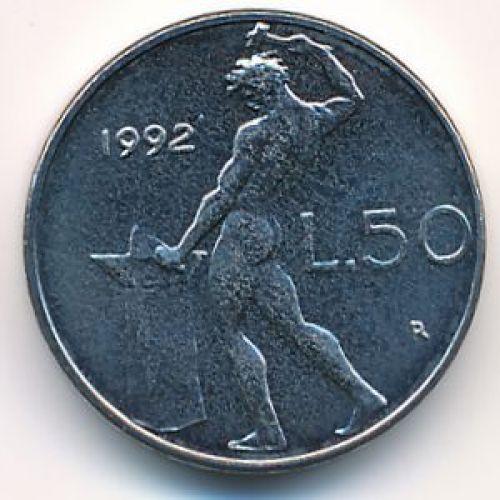 50 лир (1990–1995 г.) Италия. Маленькая