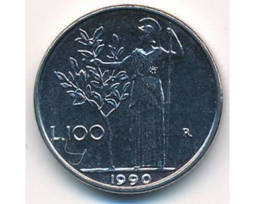 100 лир 1990 год Италия Маленькая
