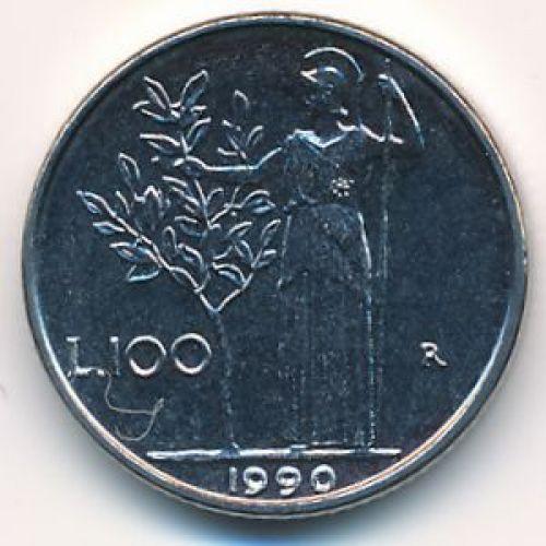 100 лир 1990 год. Италия. Маленькая