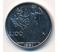 100 лир 1991 год Италия Маленькая