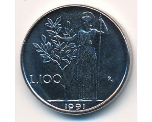 100 лир 1991 год. Италия. Маленькая