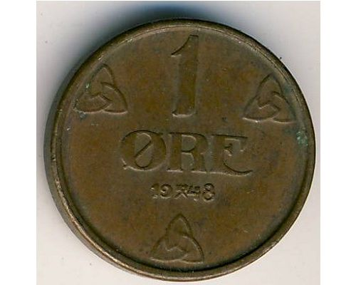 1 эре 1948 год. Норвегия
