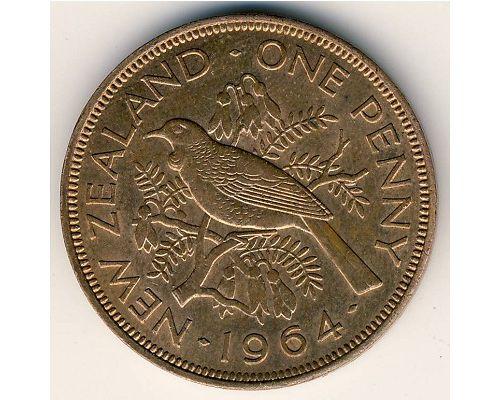 1 пенни 1964 год Новая Зеландия Новозеландский туи