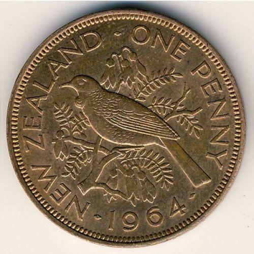 1 пенни 1964 год Новая Зеландия. Новозеландский туи