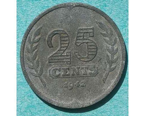 25 центов 1942 года Нидерланды Корабль