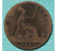 1 пенни 1887 год Великобритания one penny Королева Виктория