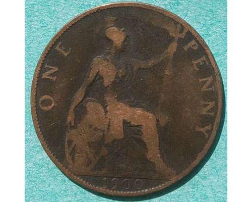1 пенни 1900 год Великобритания one penny Королева Виктория №2