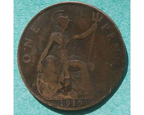 1 пенни 1919 год Великобритания one penny Георг V