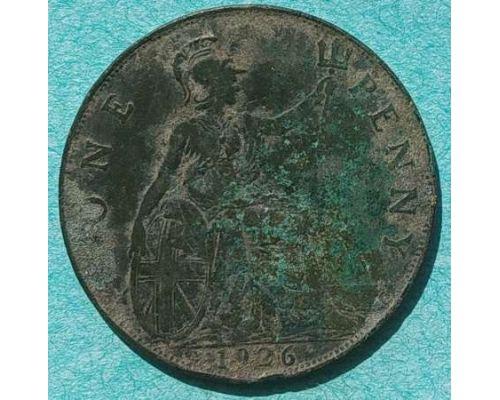 1 пенни 1926 год Великобритания one penny Георг V