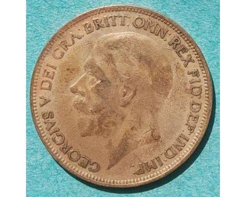 1 пенни 1927 год Великобритания one penny Георг V №2