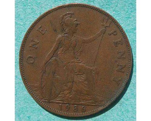 1 пенни 1936 год Великобритания one penny Георг V №2