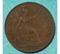 1 пенни 1936 год Великобритания one penny Георг V №3
