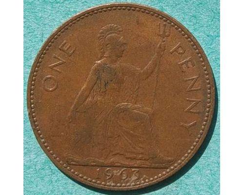 1 пенни 1963 год Великобритания one penny Елизавета II