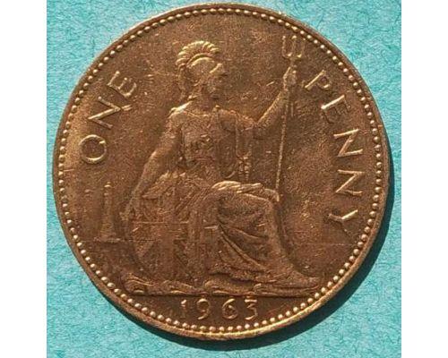 1 пенни 1963 год Великобритания one penny Елизавета II №2