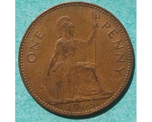 1 пенни 1965 год Великобритания one penny Елизавета II