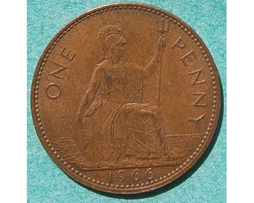 1 пенни 1966 год Великобритания one penny Елизавета II