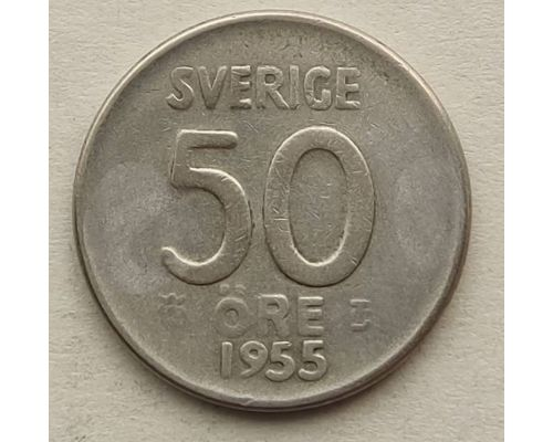 50 эре 1955 год Швеция Серебро