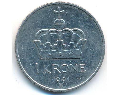 1 крона 1991 год Норвегия