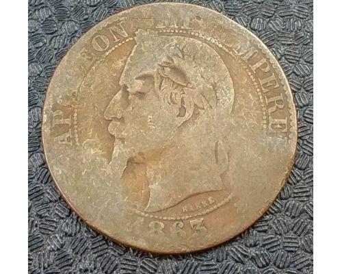 5 сентим 1863 год A Франция (сантим) Наполеон III