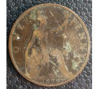 1 пенни 1899 год Великобритания one penny Королева Виктория
