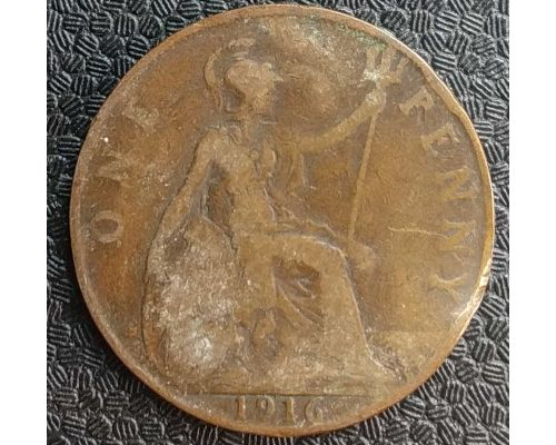 1 пенни 1916 год Великобритания one penny Георг V №3