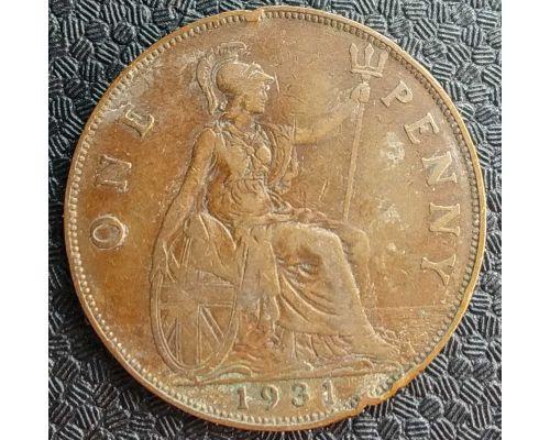 1 пенни 1931 год Великобритания Георг V