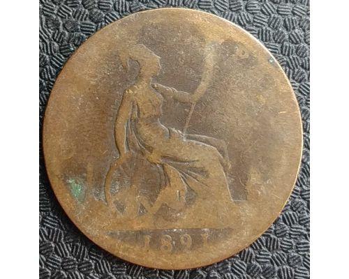 1 пенни 1891 год Великобритания, one penny Королева Виктория