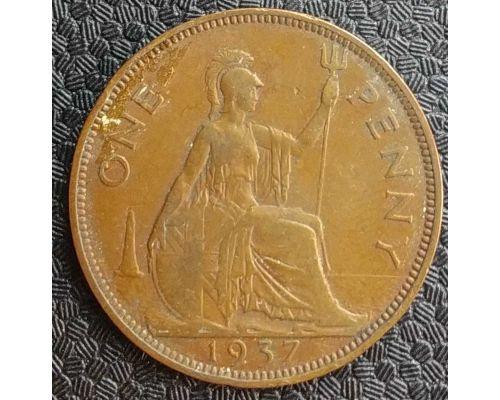 1 пенни 1937 год Великобритания, one penny Георг VI