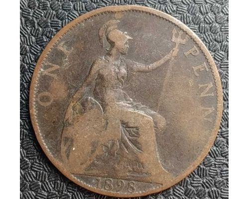 1 пенни 1898 год Великобритания, one penny Королева Виктория
