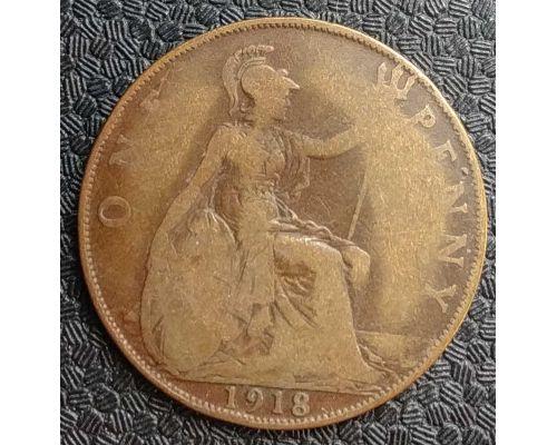 1 пенни 1918 год Великобритания one penny Георг V