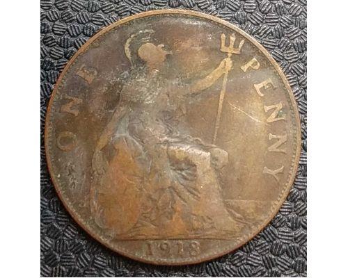 1 пенни 1918 год Великобритания one penny Георг V №2