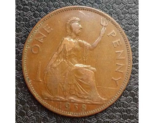 1 пенни 1938 год Великобритания, one penny Георг VI