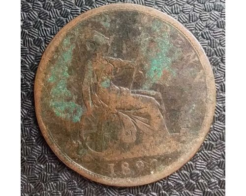 1 пенни 1892 год Великобритания, one penny Королева Виктория #2
