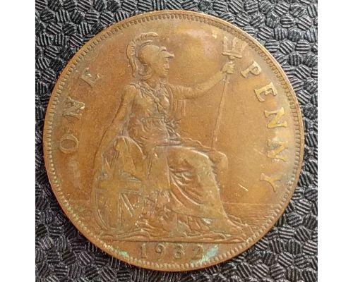 1 пенни 1932 год Великобритания Георг V
