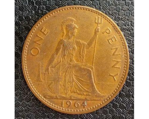 1 пенни 1964 год Великобритания one penny Елизавета II