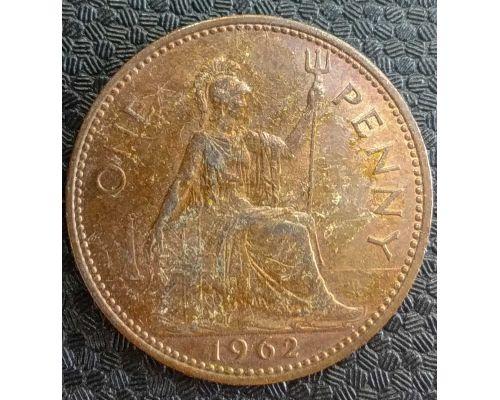 1 пенни 1962 год Великобритания one penny Елизавета II