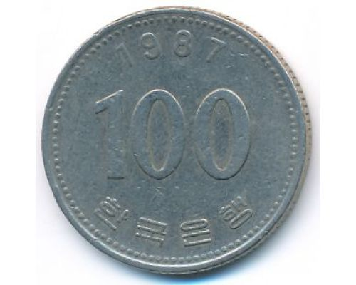 100 вон 1987 год Южная Корея