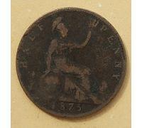 1/2 пенни 1875 год Великобритания Пол пенни, half penny Королева Виктория