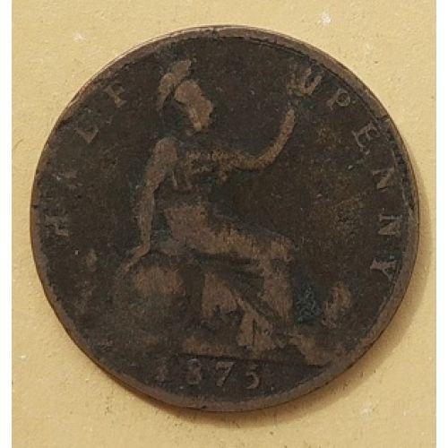 1/2 пенни 1875 год. Великобритания. Пол пенни, half penny. Королева Виктория