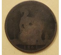 1 пенни 1861 год Великобритания, one penny Королева Виктория