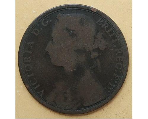 1 пенни 1877 год Великобритания, one penny Королева Виктория