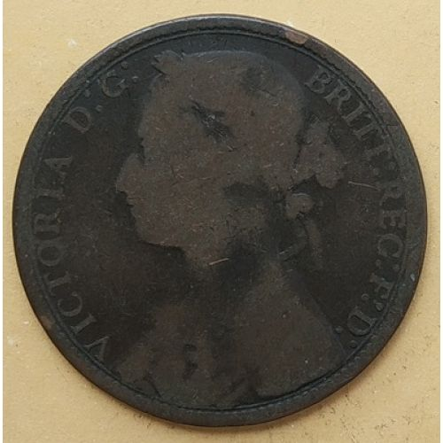 1 пенни 1877 год Великобритания, one penny. Королева Виктория