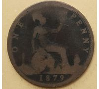 1 пенни 1879 год Великобритания, one penny Королева Виктория