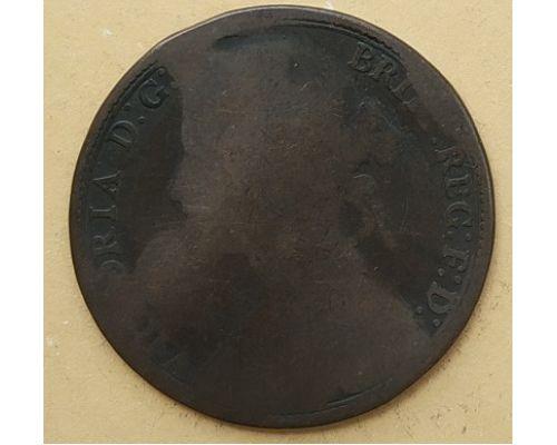 1 пенни 1880 год Великобритания, one penny Королева Виктория