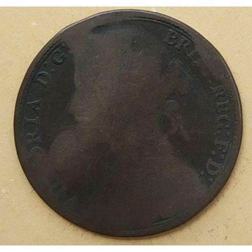 1 пенни 1880 год Великобритания, one penny. Королева Виктория