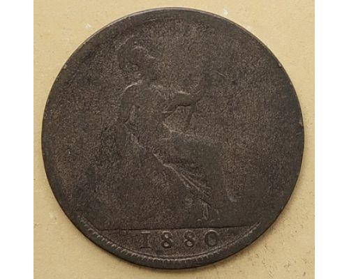 1 пенни 1880 год Великобритания, one penny Королева Виктория #2