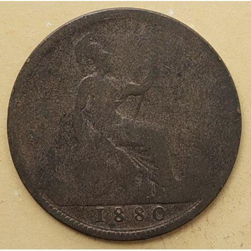 1 пенни 1880 год Великобритания, one penny. Королева Виктория #2